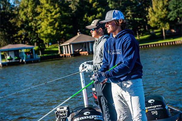 Two high school anglers competing